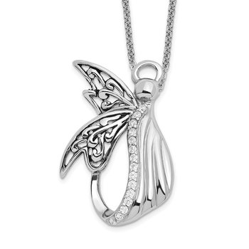Sterling Silver CZ Antiqued Angel of Perseverance 18in Necklace