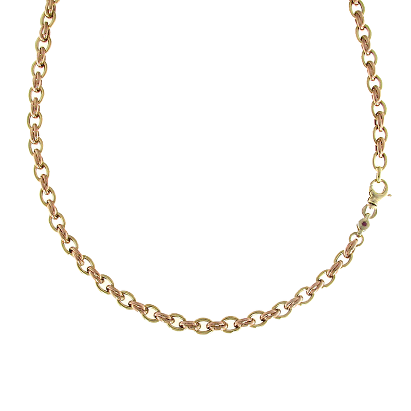 Roberto Coin 18Kt Yellow And Rose Gold Link Necklace