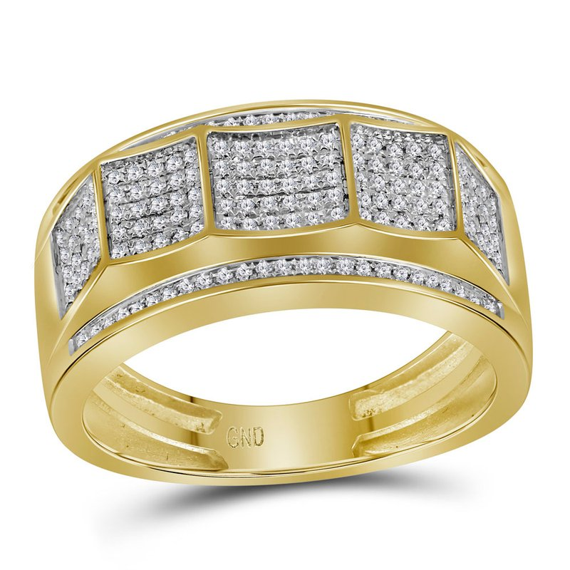 Kingdom Treasures 10kt Yellow Gold Mens Round Pave-set Diamond Faceted Cluster Band Ring 1/3 Cttw