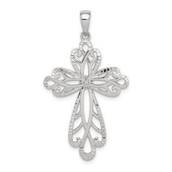 Sterling Silver Diamond & Diamond-cut Cross Pendant