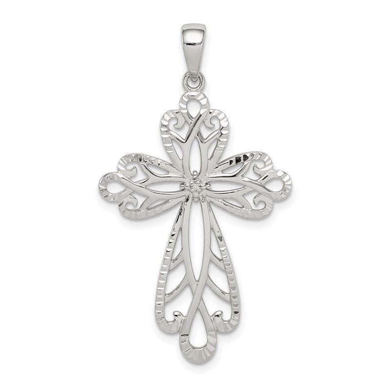 Quality Gold Sterling Silver Diamond & Diamond-cut Cross Pendant