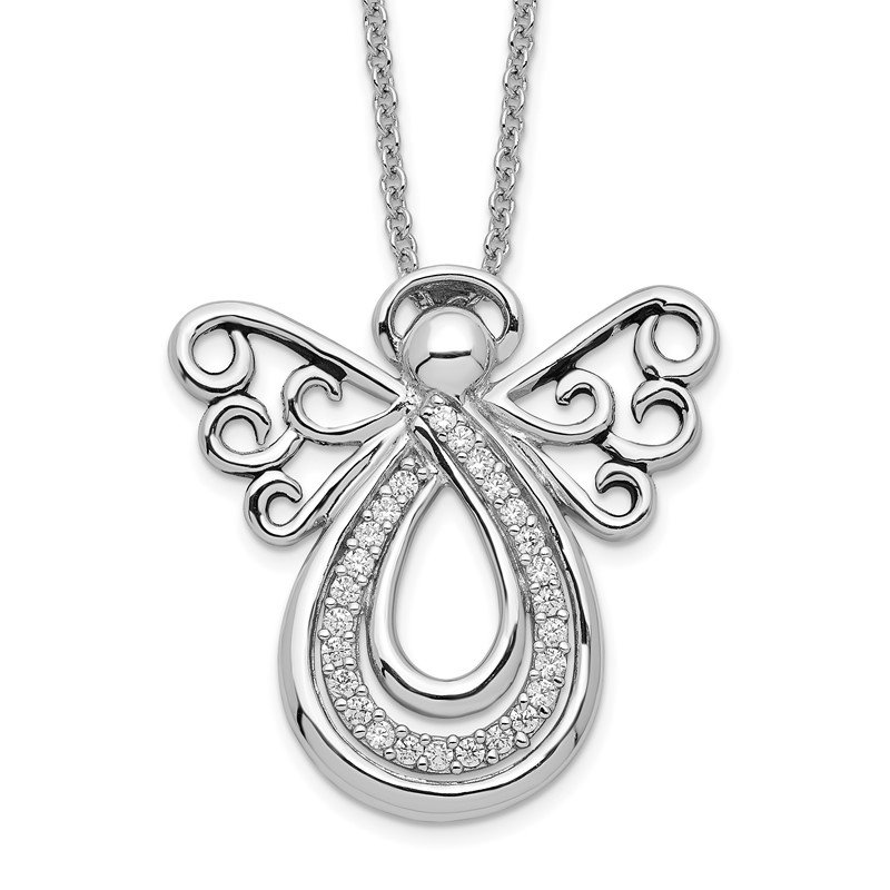 Quality Gold Sterling Silver CZ Angel Of Comfort 18in. Necklace