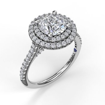 Single Row Petite Double Halo Engagement Ring