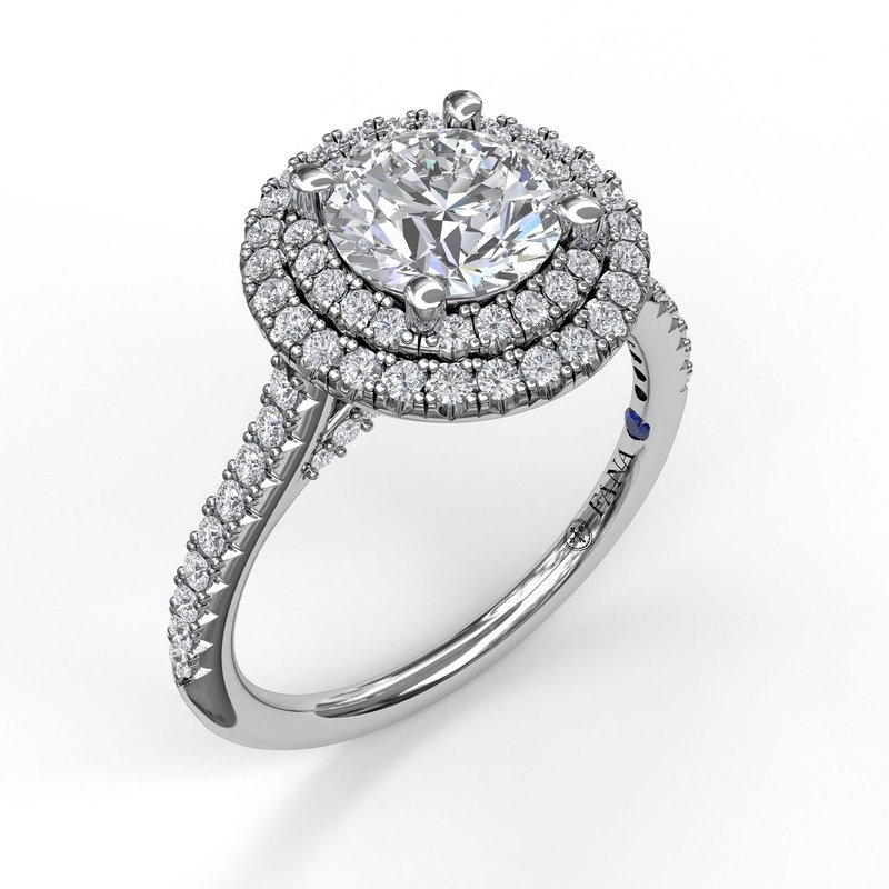 Fana Single Row Petite Double Halo Engagement Ring