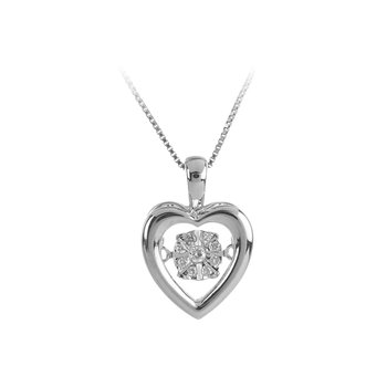 10K WG Dancing Diamond Heart Pendant