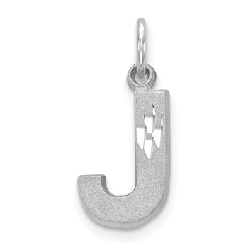 14KW Satin Diamond-cut Letter J Initial Charm