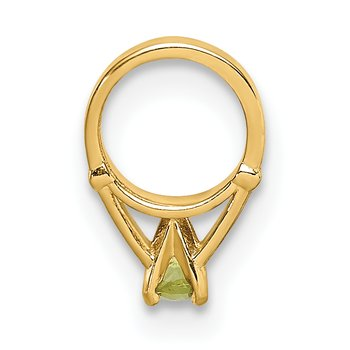 14K 3D Ring with Light Green Glass Stone Charm