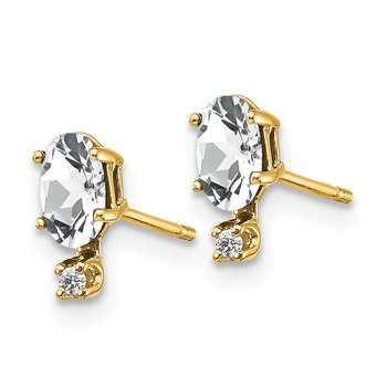 14k Diamond & White Topaz Birthstone Earrings