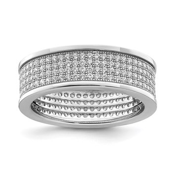Sterling Silver Rhodium-plated Pave CZ Eternity Band