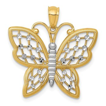 14k and Rhodium Diamond-cut Butterfly Pendant