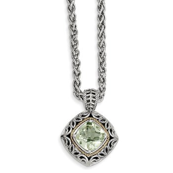 Sterling Silver w/14k Green Quartz Necklace
