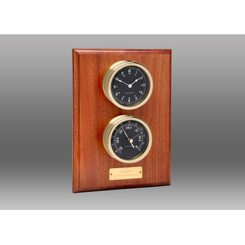 Voyager Clock & Barometer Set on Mahogany Plaque