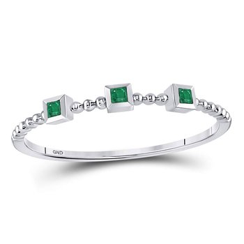 10kt White Gold Womens Princess Emerald Beaded 3-stone Stackable Band Ring .03 Cttw
