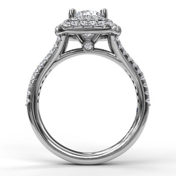 Elegant Double Halo Engagement Ring