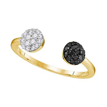10kt Yellow Gold Womens Round Black Color Enhanced Diamond Bisected Band Cluster Ring 1/3 Cttw