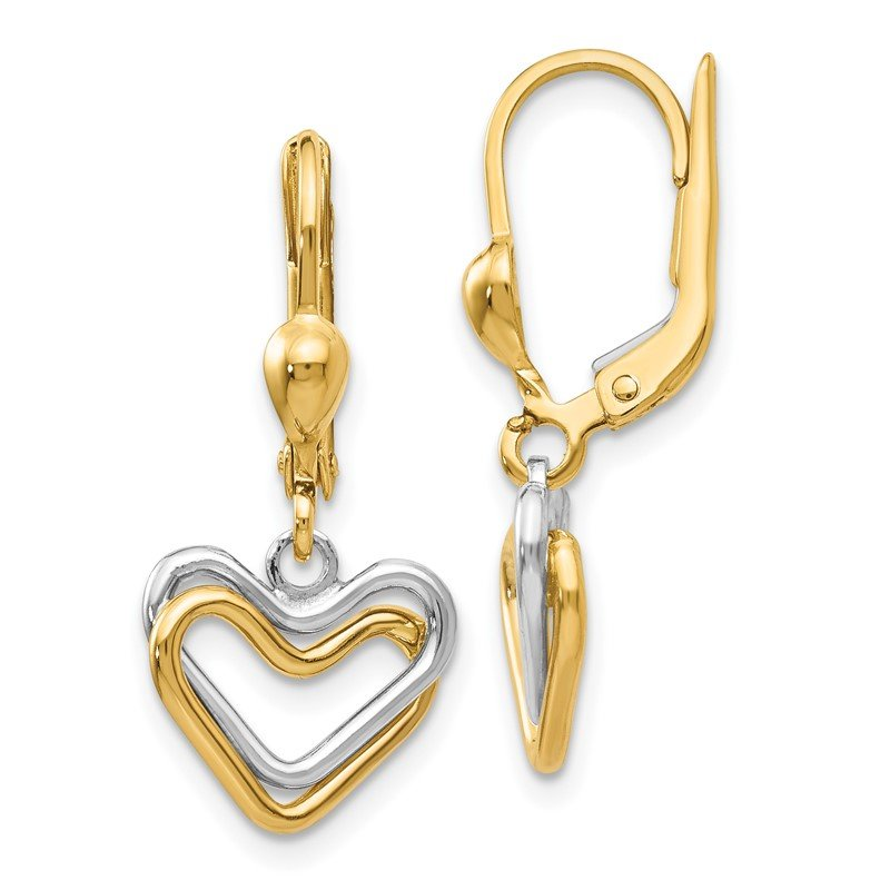 Quality Gold 14k Two-tone Heart Leverback Dan