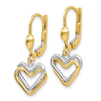 14k Two-tone Heart Leverback Dan