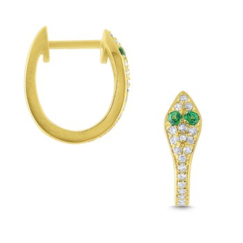 Gold, Diamond and Emerald Snake Hoop Earrings