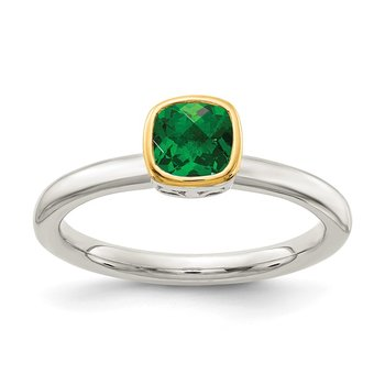 Sterling Silver w/ 14K Accent Created Emerald Ring