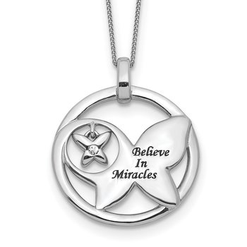 Sterling Silver Enamel BELIEVE MIRACLES Crystal Butterfly Necklace