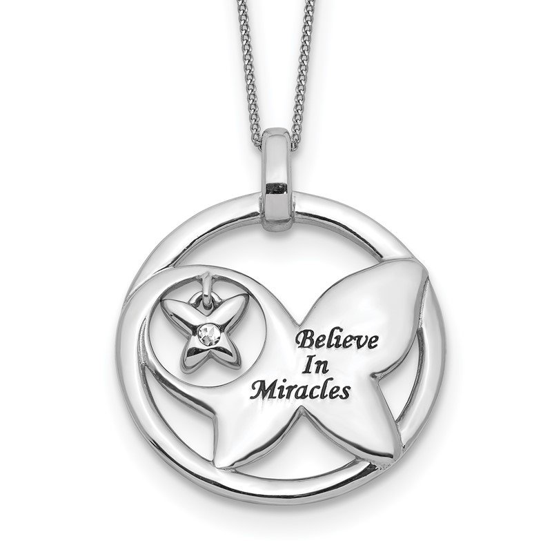 Quality Gold Sterling Silver Enamel BELIEVE MIRACLES Crystal Butterfly Necklace