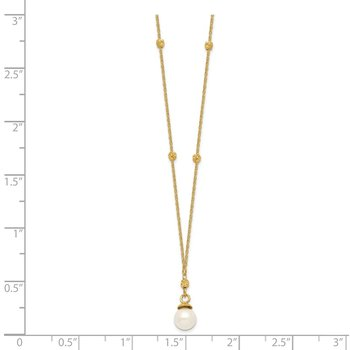 14k Beaded Chain w/5mm Freshwater Cultured Pearl Necklace