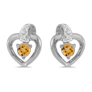 14k White Gold Round Citrine And Diamond Heart Earrings