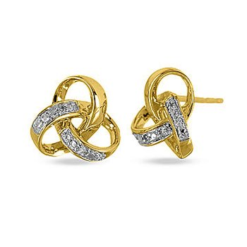 10K YG Diamond Love Knot Stud Earring