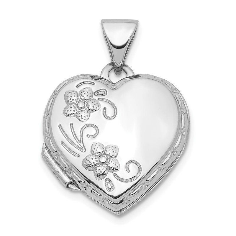 Quality Gold 14K White Gold Polished 15mm Floral Heart Locket