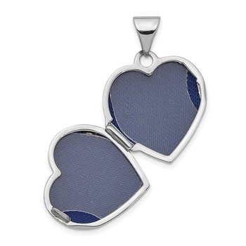 14K White Gold Polished 15mm Floral Heart Locket