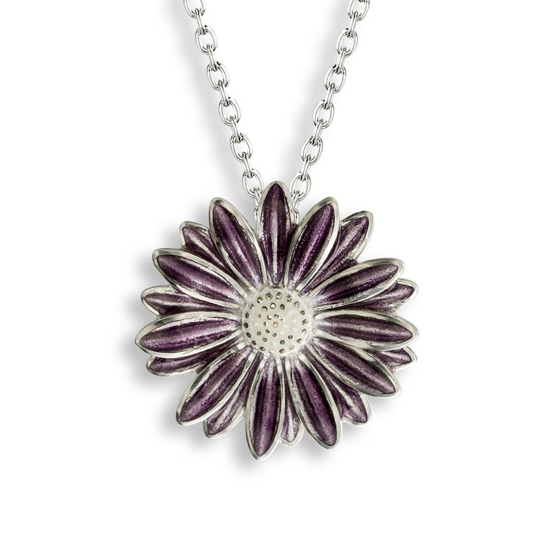 Nicole Barr Designs Purple African Daisy Necklace.Sterling Silver