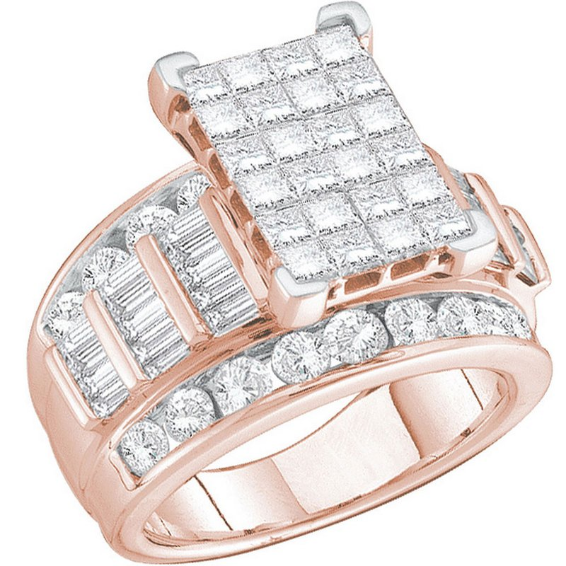 Gold-N-Diamonds, Inc. (Atlanta) 14kt Rose Gold Womens Princess Diamond Cluster Bridal Wedding Engagement Ring 2.00 Cttw