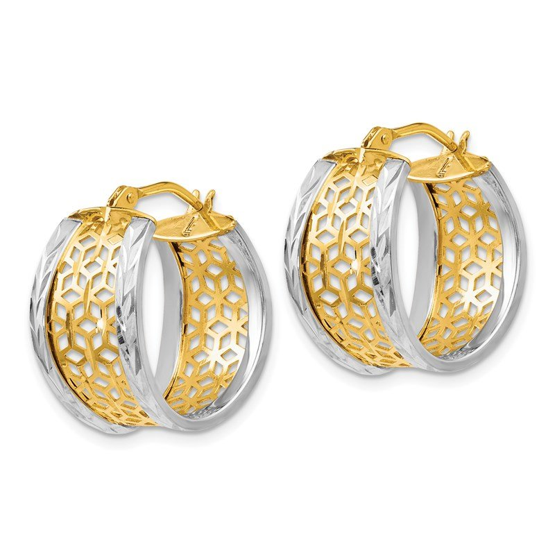 Leslie's Leslie's 14k Two-tone D/C w/Cut-out Design Hinged Hoop Earrings