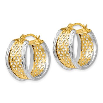 Leslie's 14k Two-tone D/C w/Cut-out Design Hinged Hoop Earrings