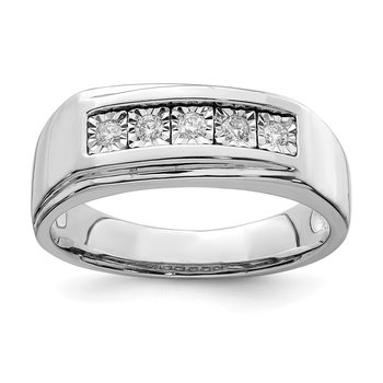 Sterling Silver Rhodium Men's Polished Diam. Ring