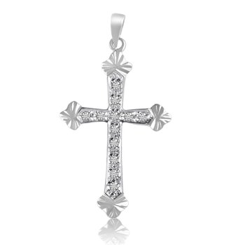 14K White Gold Diamond Cross Pendant
