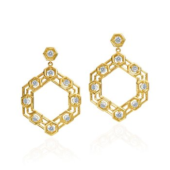 "Honeybee ""B"" Hexagon Drop Earrings E821G"