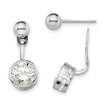 Sterling Silver Rhodium-plated CZ Front and Back Post Earrings