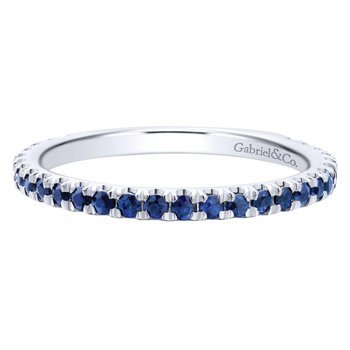 14K White Gold Straight Sapphire Stackable Ring
