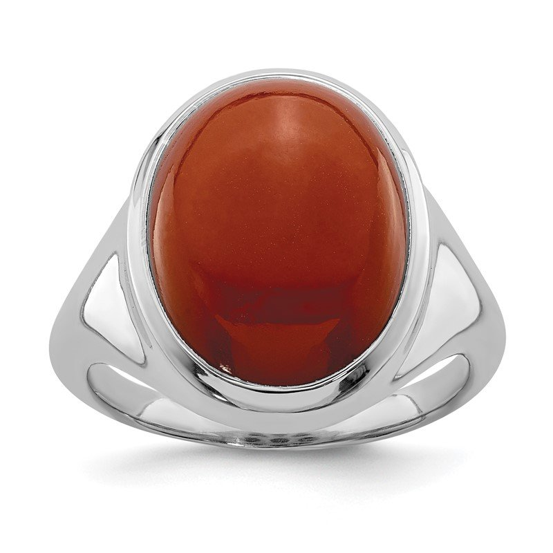 Quality Gold Sterling Silver Rhodium-plated Red Agate Ring