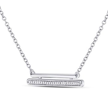 10kt White Gold Womens Round Diamond Double Horizontal Bar Necklace 1/12 Cttw