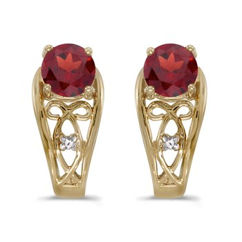 14k Yellow Gold Round Garnet And Diamond Earrings