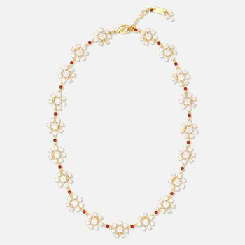 Penélope Cruz Icons of Film Flower Necklace, Red, Gold-tone plated