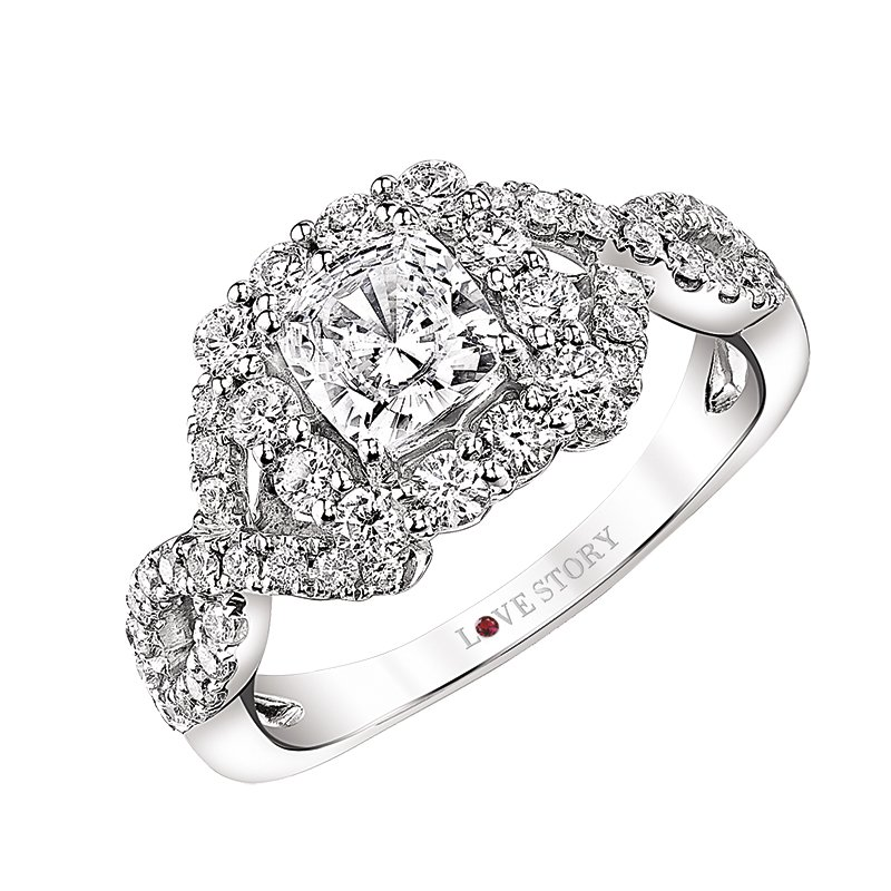 Love Story Diamonds Cushion Engagement Ring by Love Story