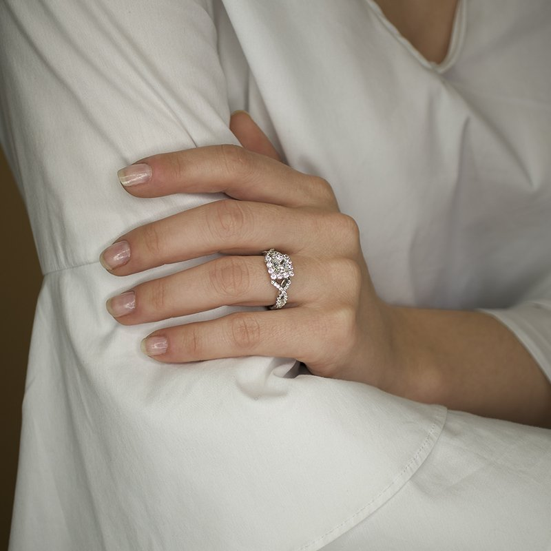Cushion Engagement Ring by Love Story