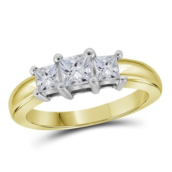 14kt Yellow Gold Womens Princess Diamond 3-stone Bridal Wedding Engagement Ring 5/8 Cttw
