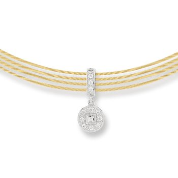 Yellow Cable Round drop Choker Necklace with 18kt White Gold & Diamonds