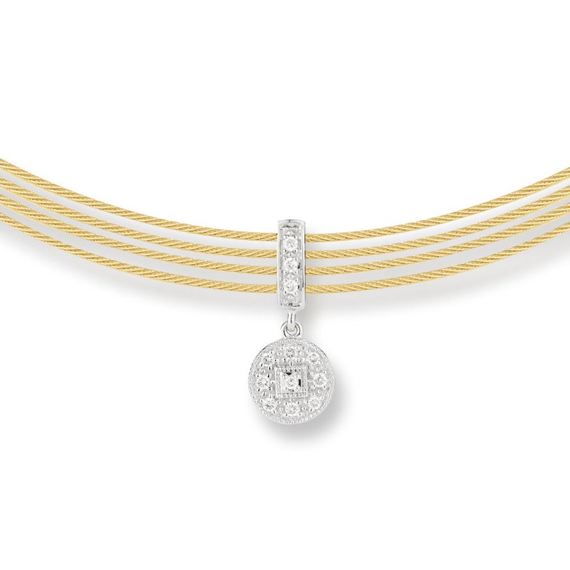 ALOR Yellow Cable Round drop Choker Necklace with 18kt White Gold & Diamonds