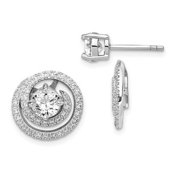 Sterling Silver Rhodium-plated 6mm Round CZ Earrings w/Swirl Jackets
