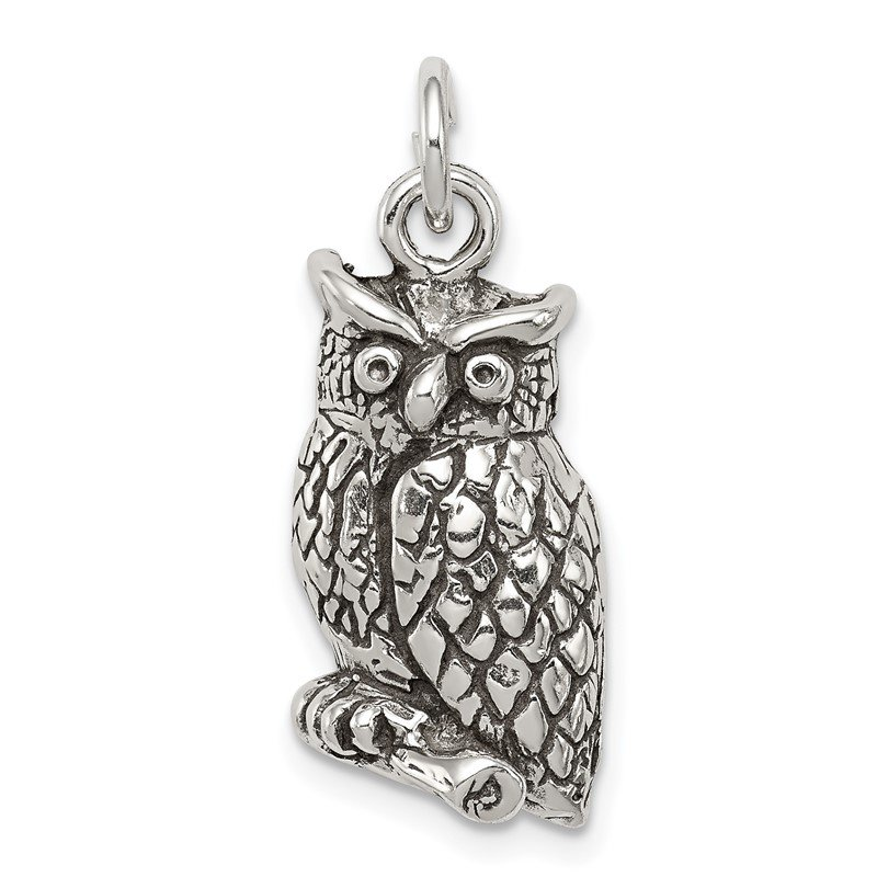 Quality Gold Sterling Silver Antiqued & Textured Perched Owl Pendant